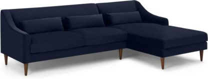 An Image of Herton Right Hand Facing Chaise End Sofa, Ink Blue Velvet