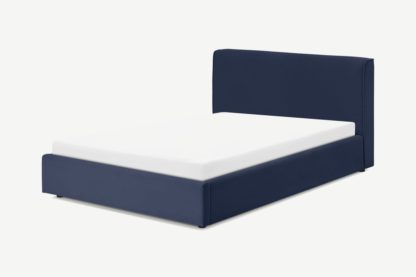 An Image of Bahra King Size Bed with Ottoman Storage, Midnight Blue Corduroy Velvet