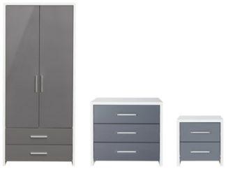 An Image of Habitat Broadway Gloss 3 Piece Wardrobe Set -Grey/ White