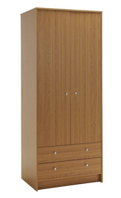 An Image of Habitat Malibu 2 Door 2 Drawer Wardrobe - Grey