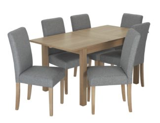 An Image of Habitat Clifton Extending Table & 6 Tweed Chairs - Grey