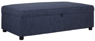 An Image of Argos Home Nate Fabric Double Ottoman Sofa Bed - Navy