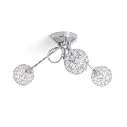 An Image of Argos Home Beaded Globes 3 Arm Ceiling Light - Metallic