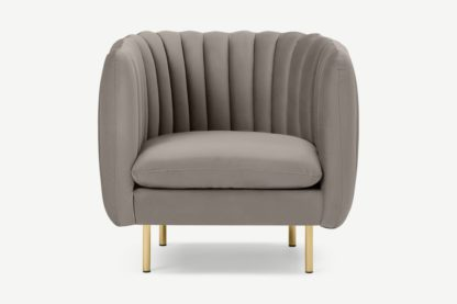An Image of Helma Accent Armchair, Alaska Grey Velvet