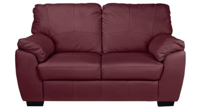 An Image of Argos Home Milano 2 Seater Leather Sofa - Burgundy