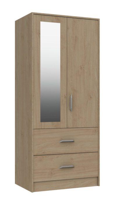 An Image of Ashdown 2 Door 2 Drawer Mirror Wardrobe - Oak Effect