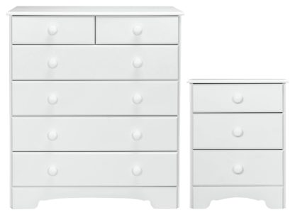 An Image of Argos Home Nordic Bedside & 4+2 Drawer Chest Set -Soft White
