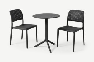 An Image of Nardi 2 Seat Bistro Set, Dark Grey Fibreglass & Resin