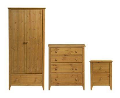 An Image of Colorado 3 Piece 2 Door Wardrobe Set - Pine