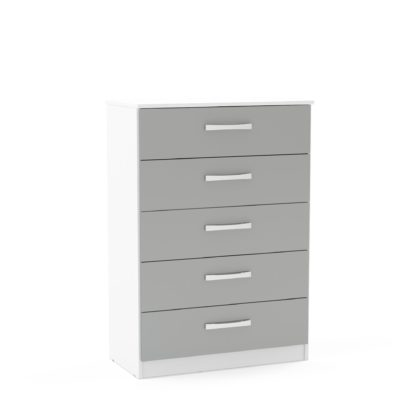 An Image of Lynx White and Grey 5 Drawer Chest Grey