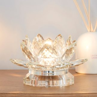 An Image of Dorma Cassali Lotus Flower Crystal Table Lamp Clear