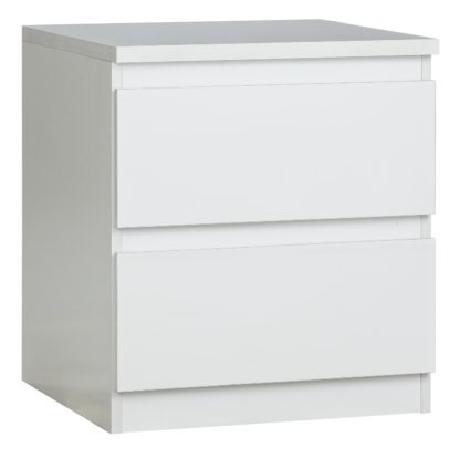 An Image of Habitat Jenson 2 Drawer Bedside Table - Gloss White