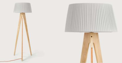 An Image of Miller Tripod Floor Lamp, Natural Wood and Orange