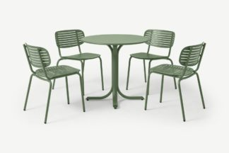 An Image of Emu 4 Seat Garden Dining Set, Green Powder-Coated Steel