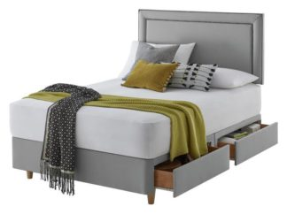 An Image of Silentnight Toulouse Small Double 4Drw Divan Set -Slate Grey