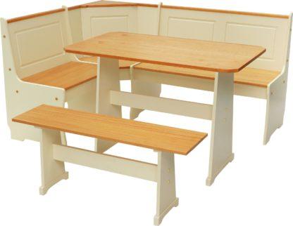 An Image of Argos Home Haversham Solid Pine Corner Dining Set & Bench