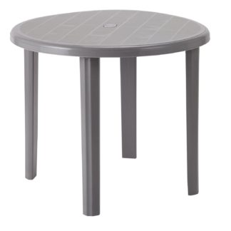 An Image of Argos Home Round 4 Seater Garden Table - Light Grey