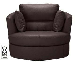 An Image of Argos Home Trieste Leather Swivel Chair - Dark Brown
