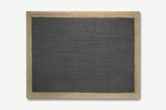 An Image of Granico Jute Border Rug, Large 160 x 230cm, Charcoal & Natural
