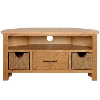 An Image of Sidmouth Oak Corner TV Stand Light Brown / Natural