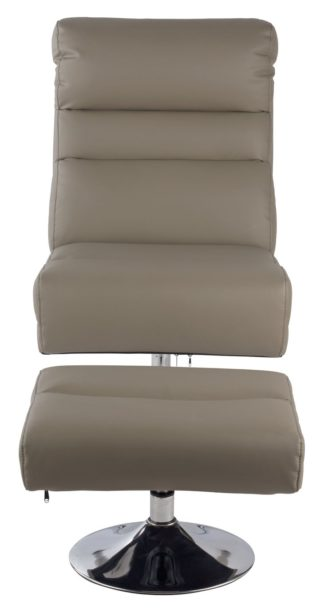 An Image of Argos Home Costa Faux Leather Swivel Chair & Footstool -Grey