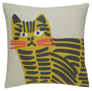 An Image of Habitat Grumpy Cat 45 x 45cm Printed Cushion - Grey & Yellow