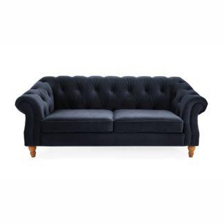 An Image of Aubrey Velvet 2 Seater Sofa Blue