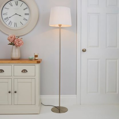 An Image of Tula Micro Pleat White Shade Floor Lamp White