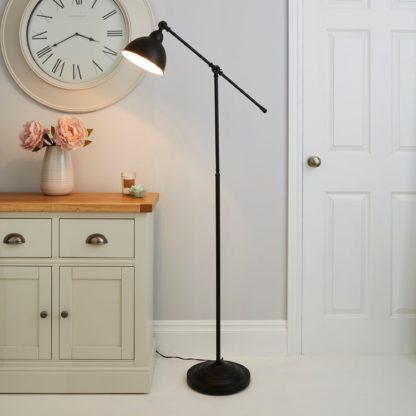An Image of Lever Arm Black Floor Lamp Black