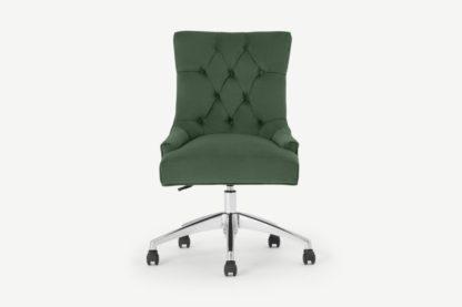 An Image of Flynn Office Chair, Elm Green Velvet with Chrome Legs