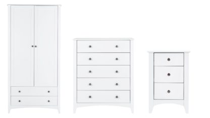 An Image of Habitat Minato 3 Piece 2 Door Wardrobe Set - White