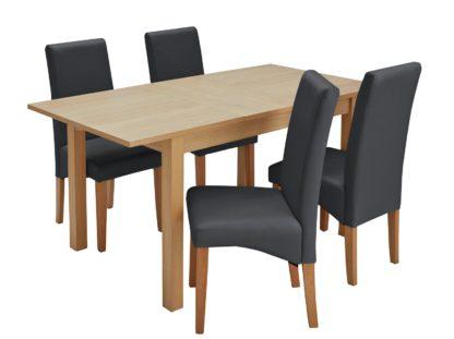 An Image of Habitat Clifton Oak Extending Table & 4 Black Chairs