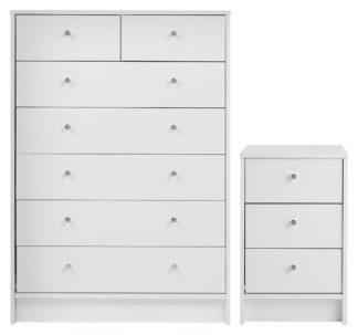 An Image of Habitat Malibu Bedside & 5+2 Drawer Chest Set - White