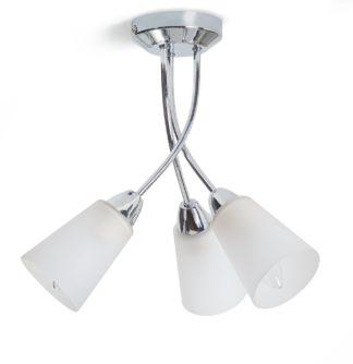 An Image of Argos Home Parton 3 Light Flush to Ceiling Light - Chrome