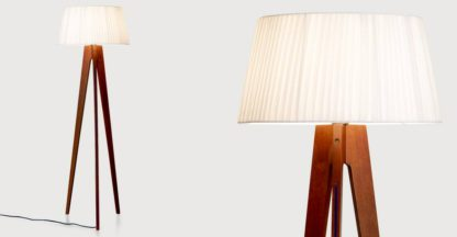 An Image of Miller Tripod Floor Lamp, Walnut and Navy