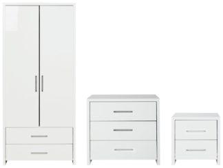 An Image of Habitat Broadway Gloss 3 Piece 2 Door Wardorbe Set -White