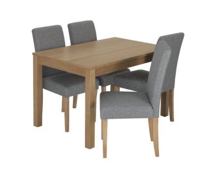 An Image of Habitat Clifton Oak Veneer Table & 4 Tweed Chairs - Grey