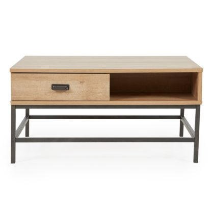 An Image of Fulton Oak Effect Lift Up Coffee Table Brown and Grey