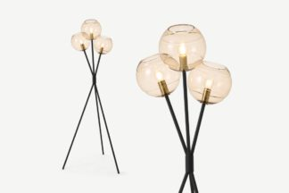 An Image of Mika Tripod Floor Light, Champagne, Black & Brass