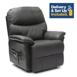 An Image of Lars Riser Recliner Dual Motor Leather Chair - Black.