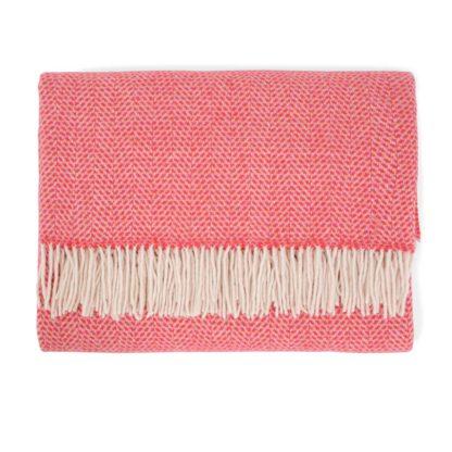 An Image of Heal's Merino & Cashmere Herringbone Throw Pink & Red