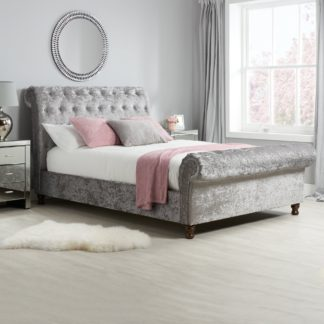 An Image of Castello Steel Sleigh Fabric Bed Frame Grey