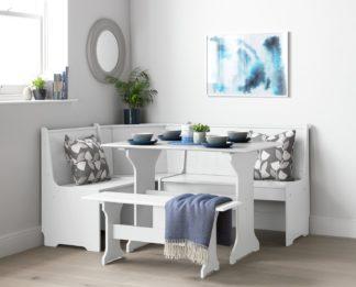 An Image of Argos Home Haversham Corner Dining Set & Bench - White