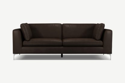 An Image of Monterosso 3 Seater Sofa, Denver Dark Brown Leather with Chrome Leg