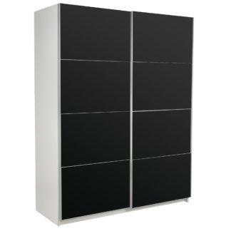 An Image of Ellum Black Sliding Wardrobe White/Black