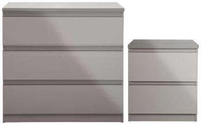 An Image of Habitat Jenson Gloss Bedside & 3 Drawer Chest Set - Grey