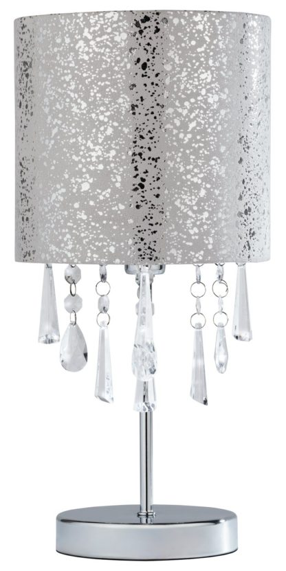 An Image of Argos Home Beaded Stick Table Lamp - Suede and Silver Foil