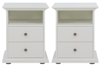 An Image of Habitat Heathland 2 Bedside Tables Set - White