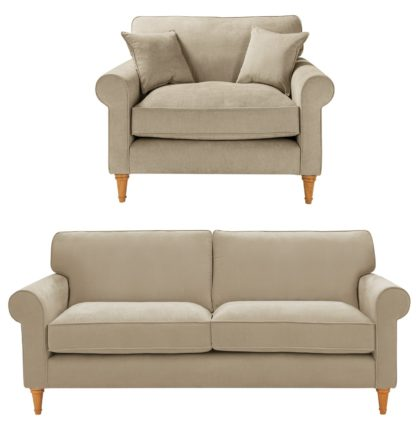 An Image of Habitat William Fabric Chair & 3 Seater Sofa - Natural