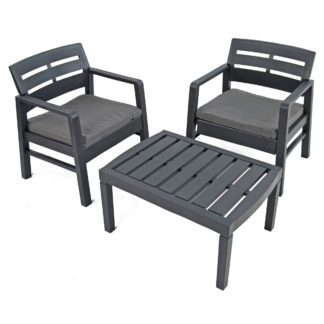 An Image of Venice 2 Seater Anthracite Conversation Set Grey